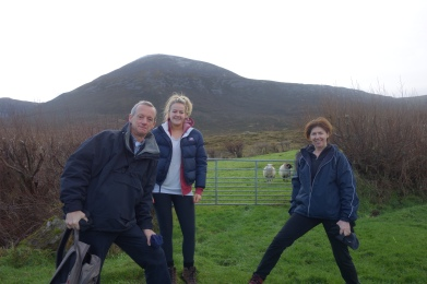 Feeling enthused at the foot of Croagh Patrick